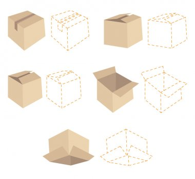 Five cardboard boxes. Five dotted line schemes of boxes