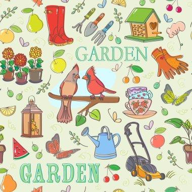 Gardening set seamless pattern