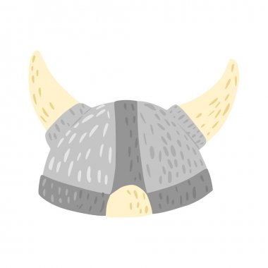 Helmet with horns isolated on white background. Cartoon cute weapon of viking in doodle style vector illustration. icon