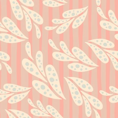 Random seamless pattern with light pink oriental ornament. Pink striped background. Simple design. Great for fabric design, textile print, wrapping, cover. Vector illustration.