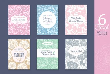 Six floral wedding, save the date invitations set with bride and groom names, text, repeat pattern backgrounds perfect for any event.