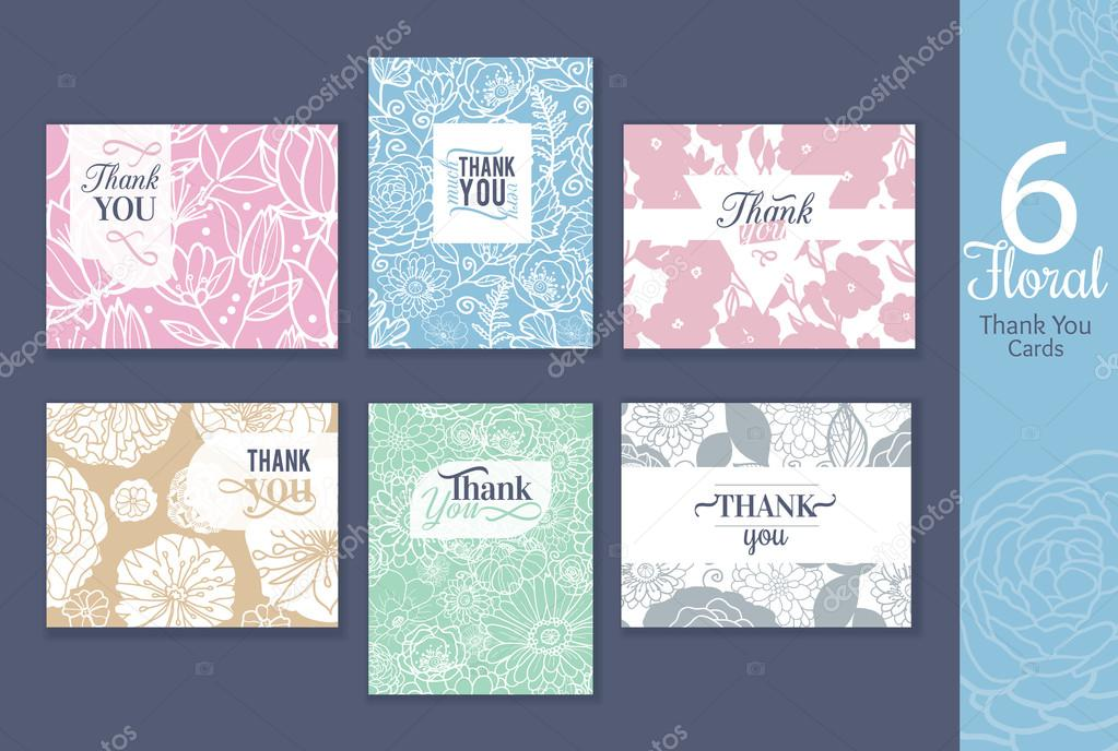 Six floral wedding thank you cards set with elegant text design, repeat pattern backgrounds perfect for any ocasion.