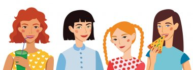 Four Vector Cute Girls Friends Illustration. Ginger, Brunette, Blond and Brown Haired Girlfriends With Different Hairstyles Chatting, Snacking During Lunch.
