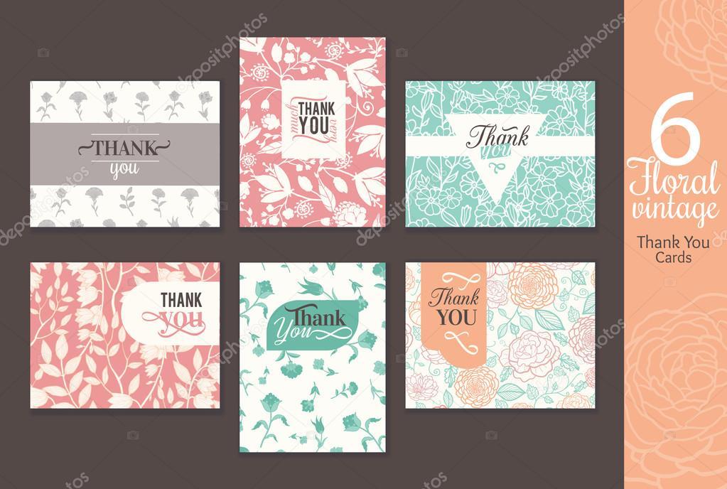 1189c5f23438 Έξι εκλεκτής ποιότητας floral γάμου Ευχαριστήρια κάρτα με διασκέδαση ...