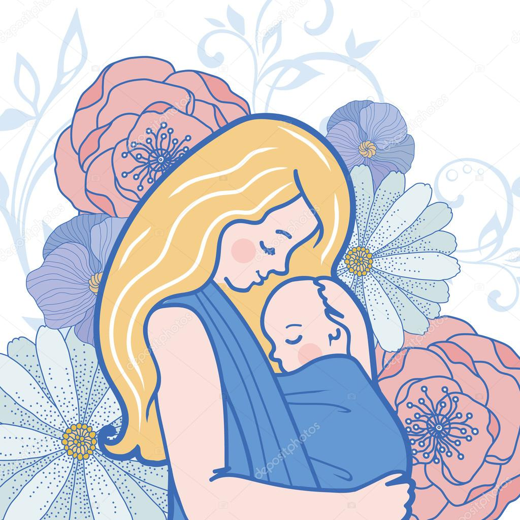 Vector Babywearing Illustration With Mother Hugging Baby In a Sling. Detailed Flowers on Background.