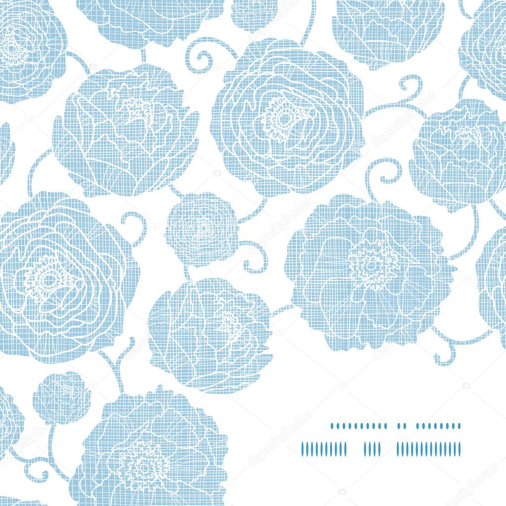 Blue textile peony flowers frame corner pattern background