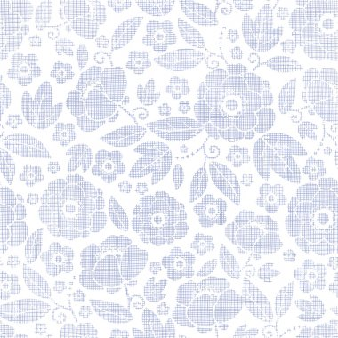 Purple textile flowers texture seamless pattern background