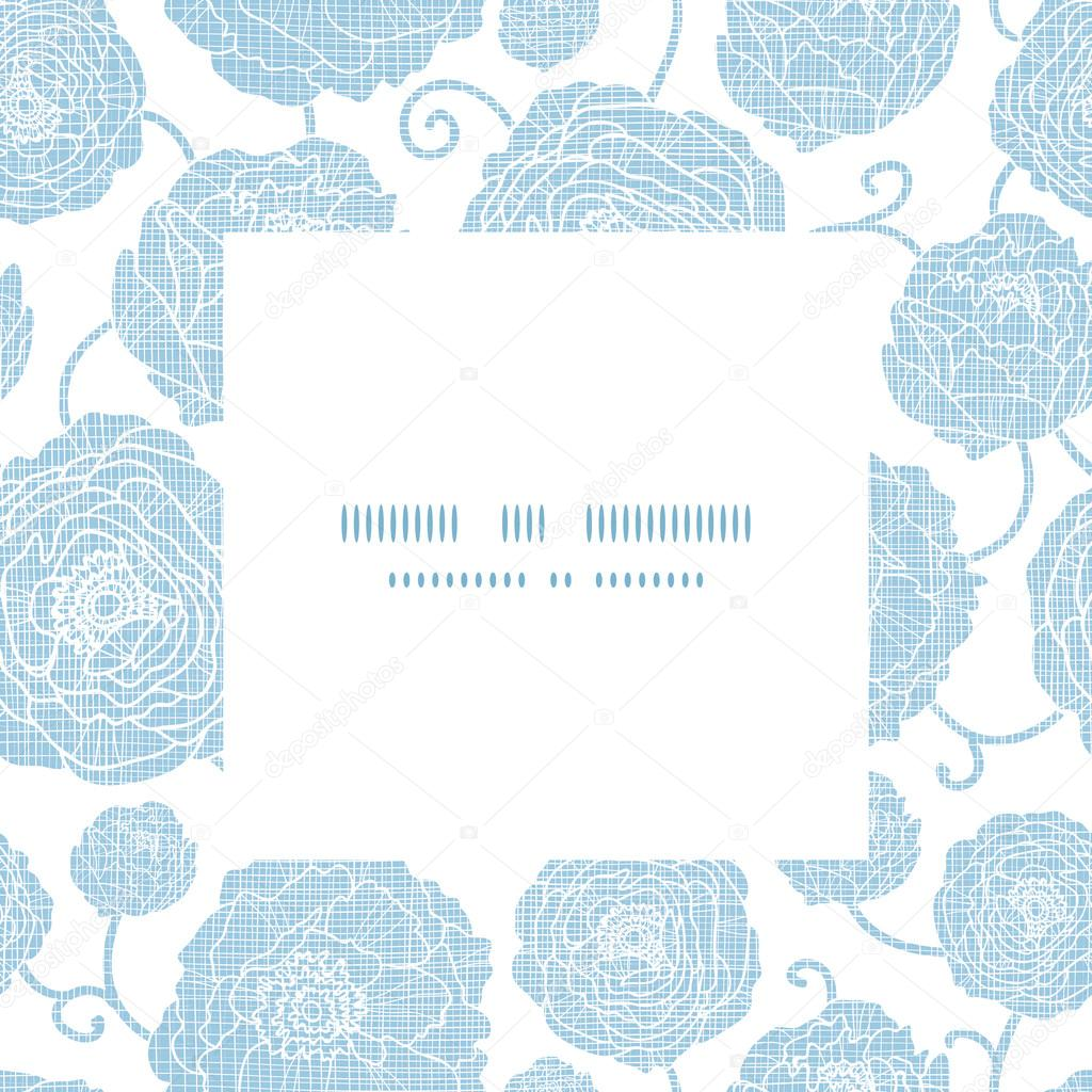 Blue textile peony flowers square frame pattern background