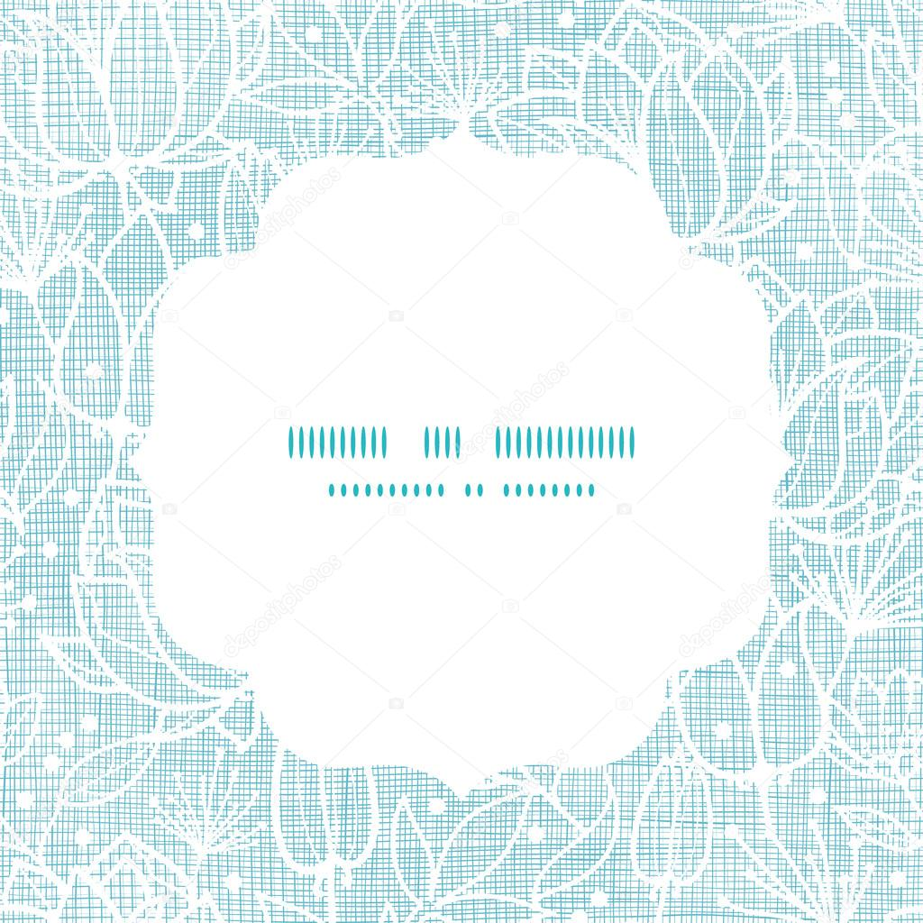Blue lace flowers textile frame square pattern background