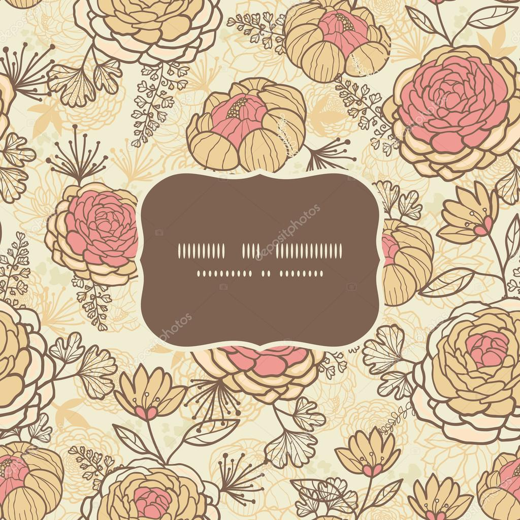Vintage brown pink flowers frame seamless pattern background
