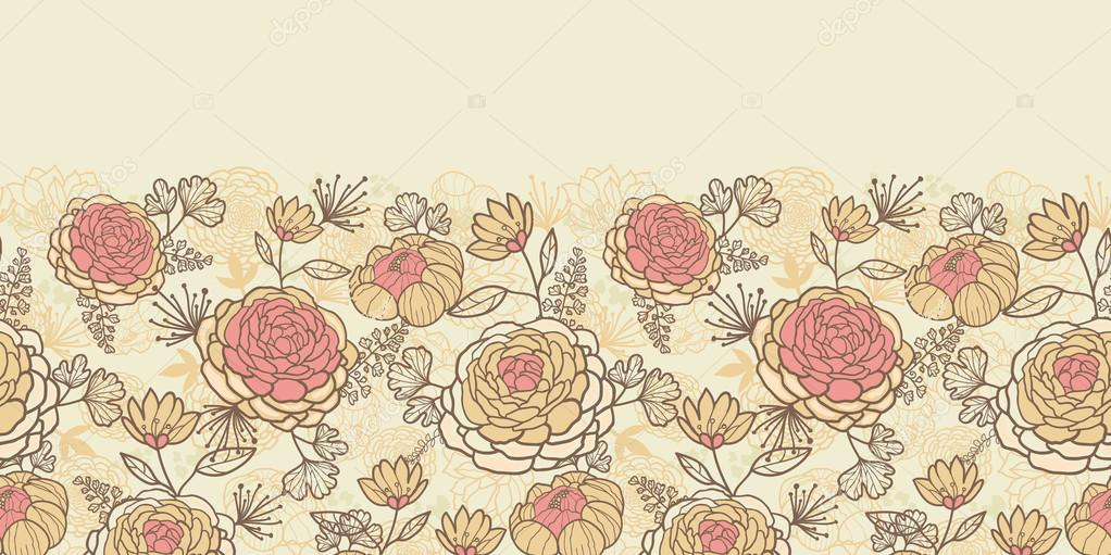 Vintage brown pink flowers horizontal seamless pattern background