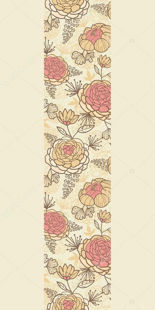 Vintage brown pink flowers vertical seamless pattern background