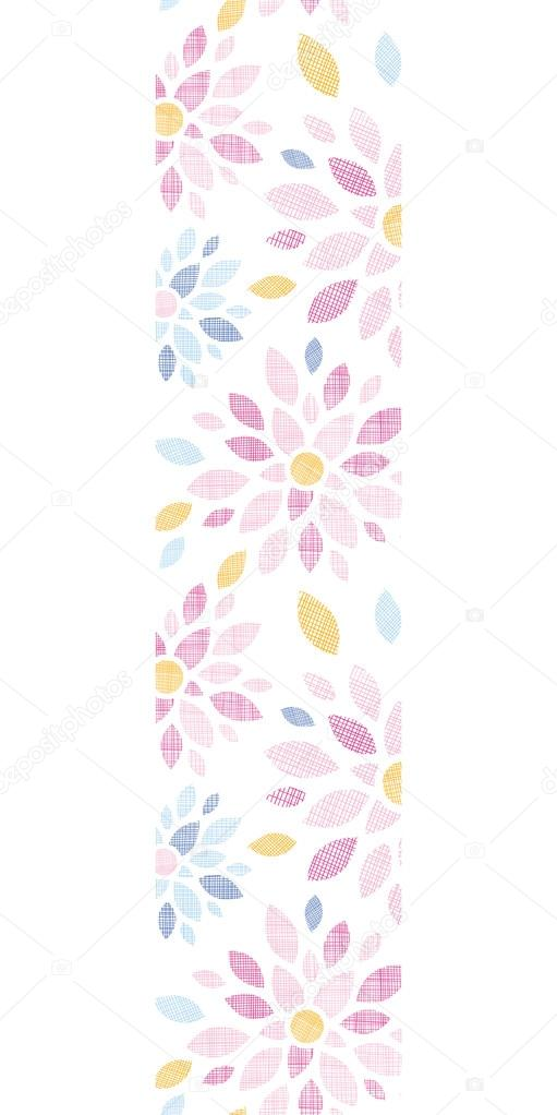 Abstract textile colorful flowers vertical border seamless pattern background