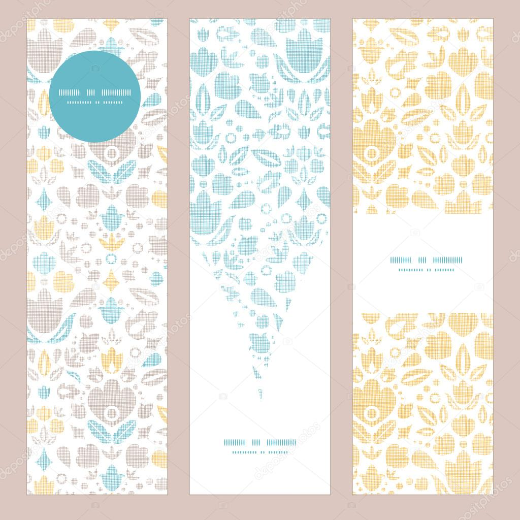 Abstract vintage ornamental tulips textile vertical banner set pattern background
