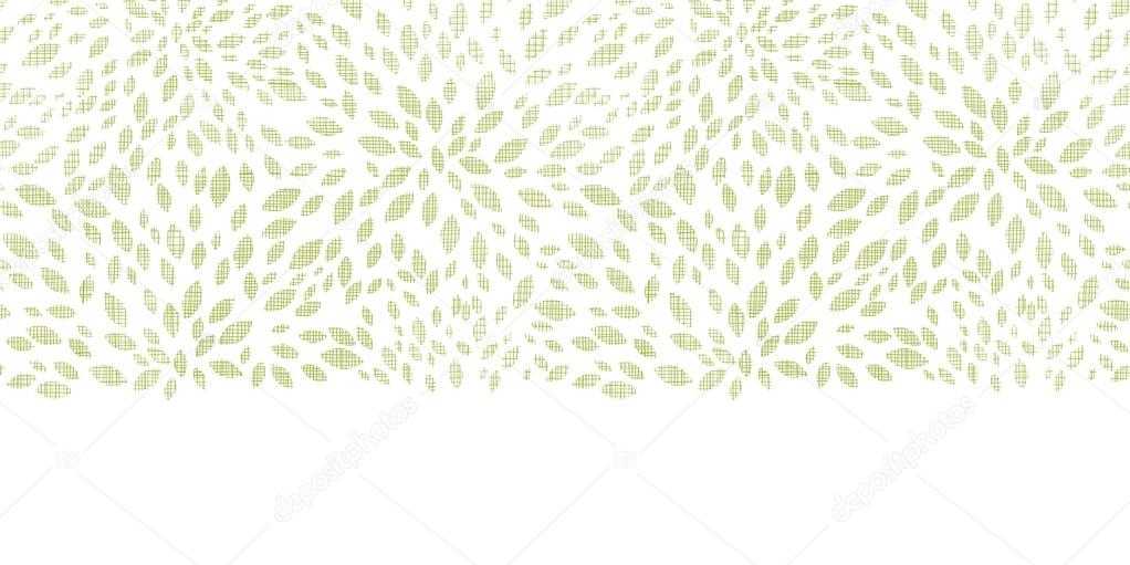 Vector green leaves explosion textile texture horizontal border seamless pattern background