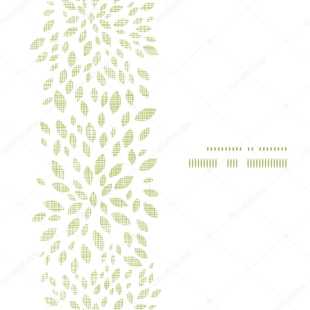 Vector green leaves explosion textile texture vertical frame seamless pattern background
