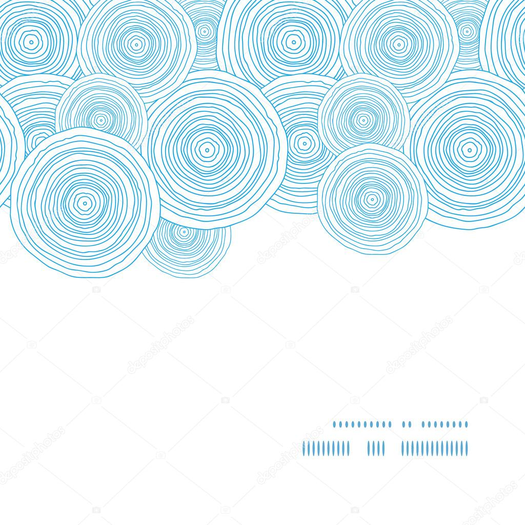 Vector doodle circle water texture horizontal frame seamless pattern background