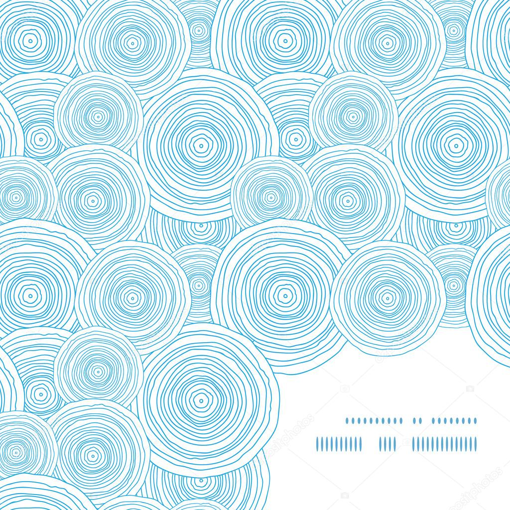 Vector doodle circle water texture frame corner pattern background