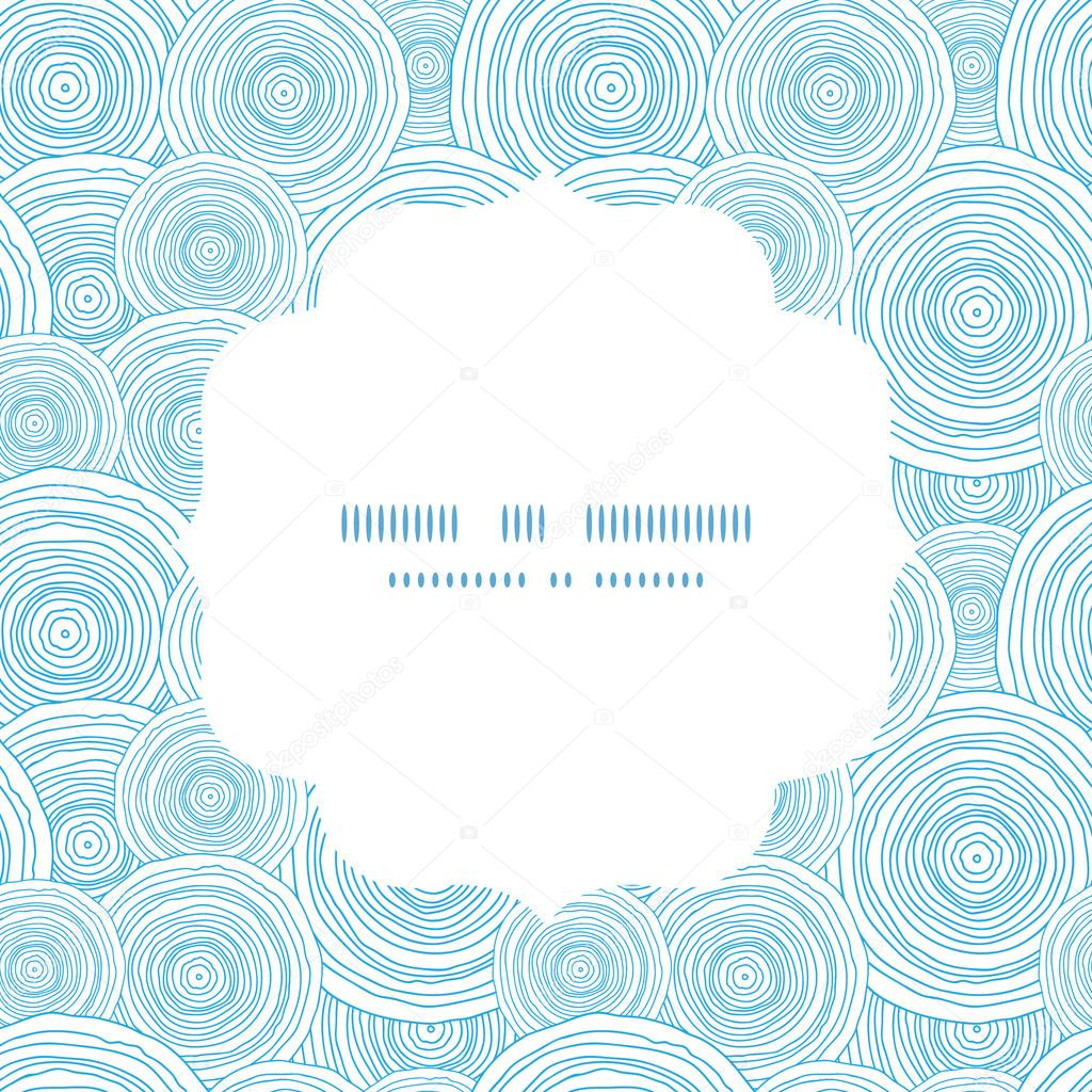 Vector doodle circle water texture round frame seamless pattern background
