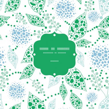 Vector abstract blue and green leaves frame seamless pattern background
