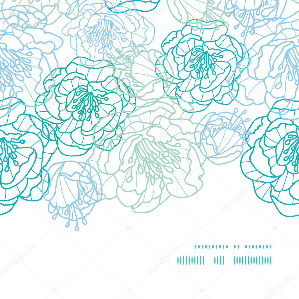 Vector blue line art flowers horizontal frame seamless pattern background