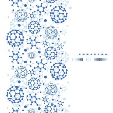 Vector blue molecules texture vertical frame seamless pattern background