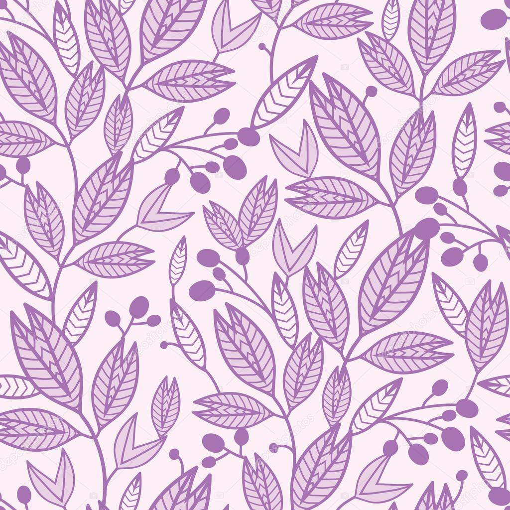 Striped leaves and berries seamless pattern background