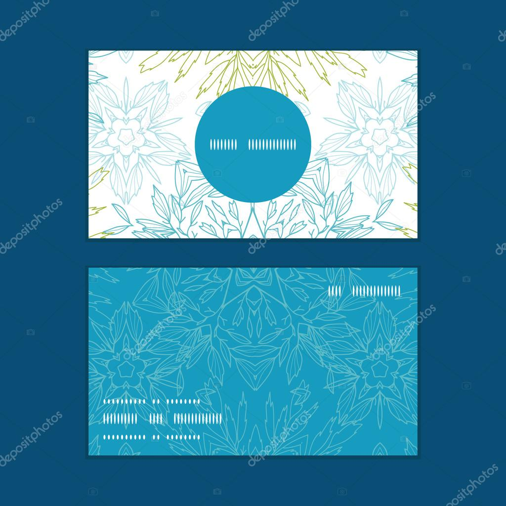 Vector abstract plants mandalas horizontal round frame pattern business cards set