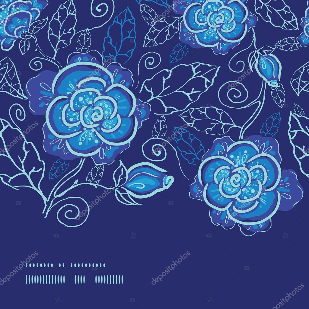 Vector blue night flowers horizontal frame seamless pattern background