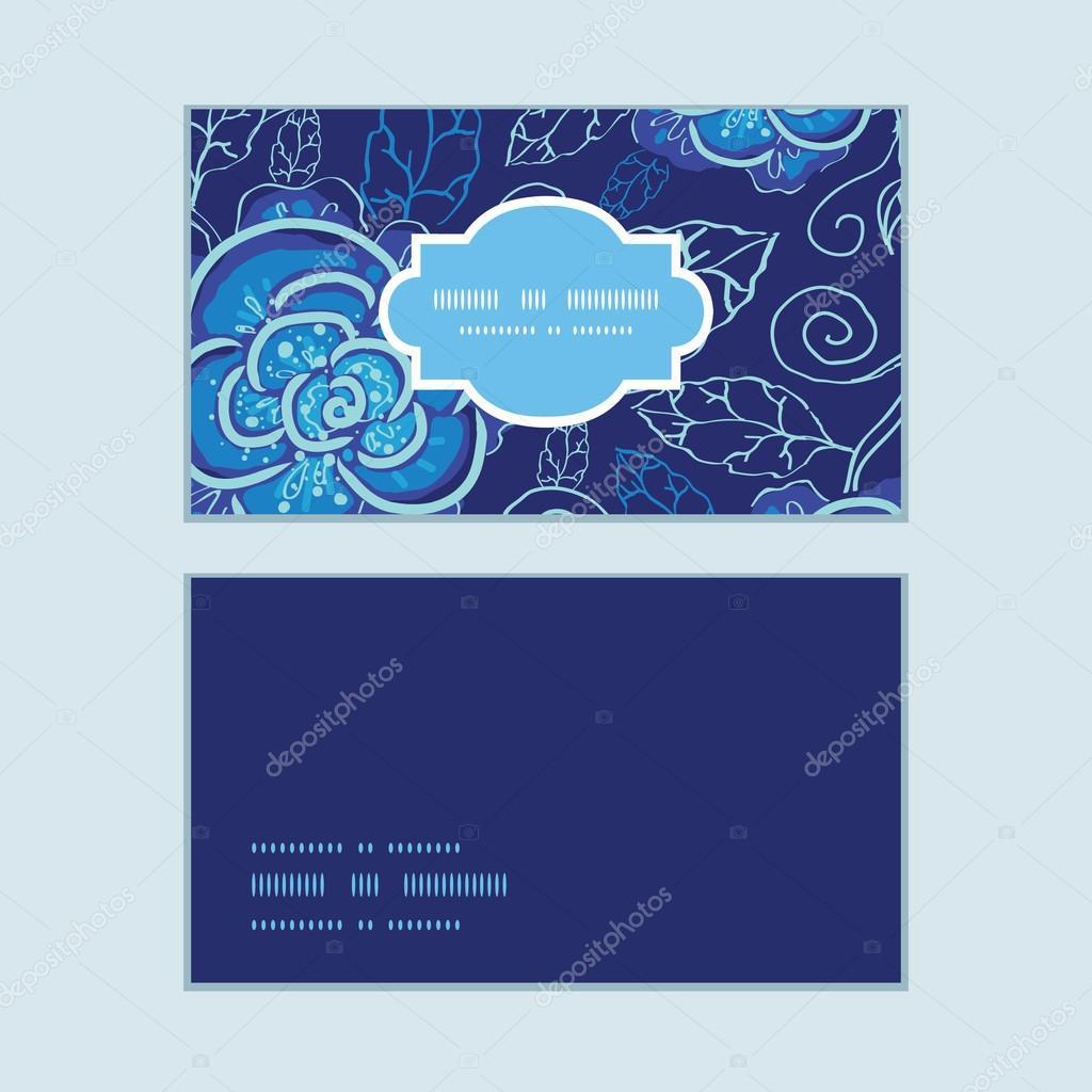 Set vector azul noche flores marco horizontal modelo tarjetas de ...