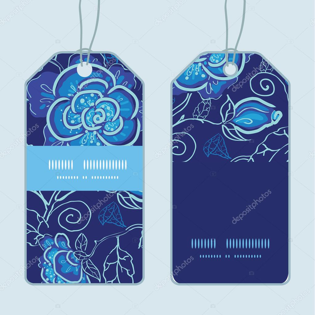Vector blue night flowers vertical stripe frame pattern tags set