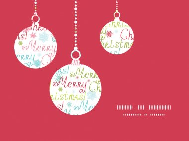 Vector merry christmas text holiday ornaments silhouettes pattern frame card template