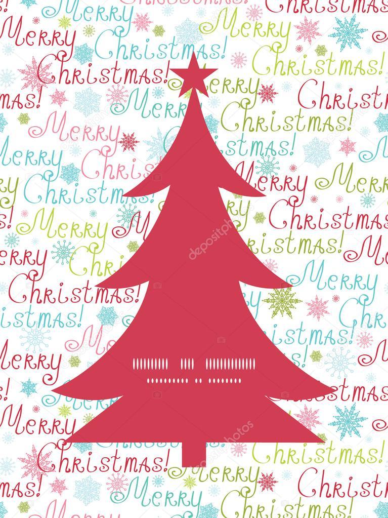 Vectores feliz Navidad pino árbol silueta patrón marco Tarjeta ...