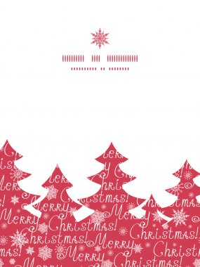 Vector merry christmas text pine tree silhouette pattern frame card template