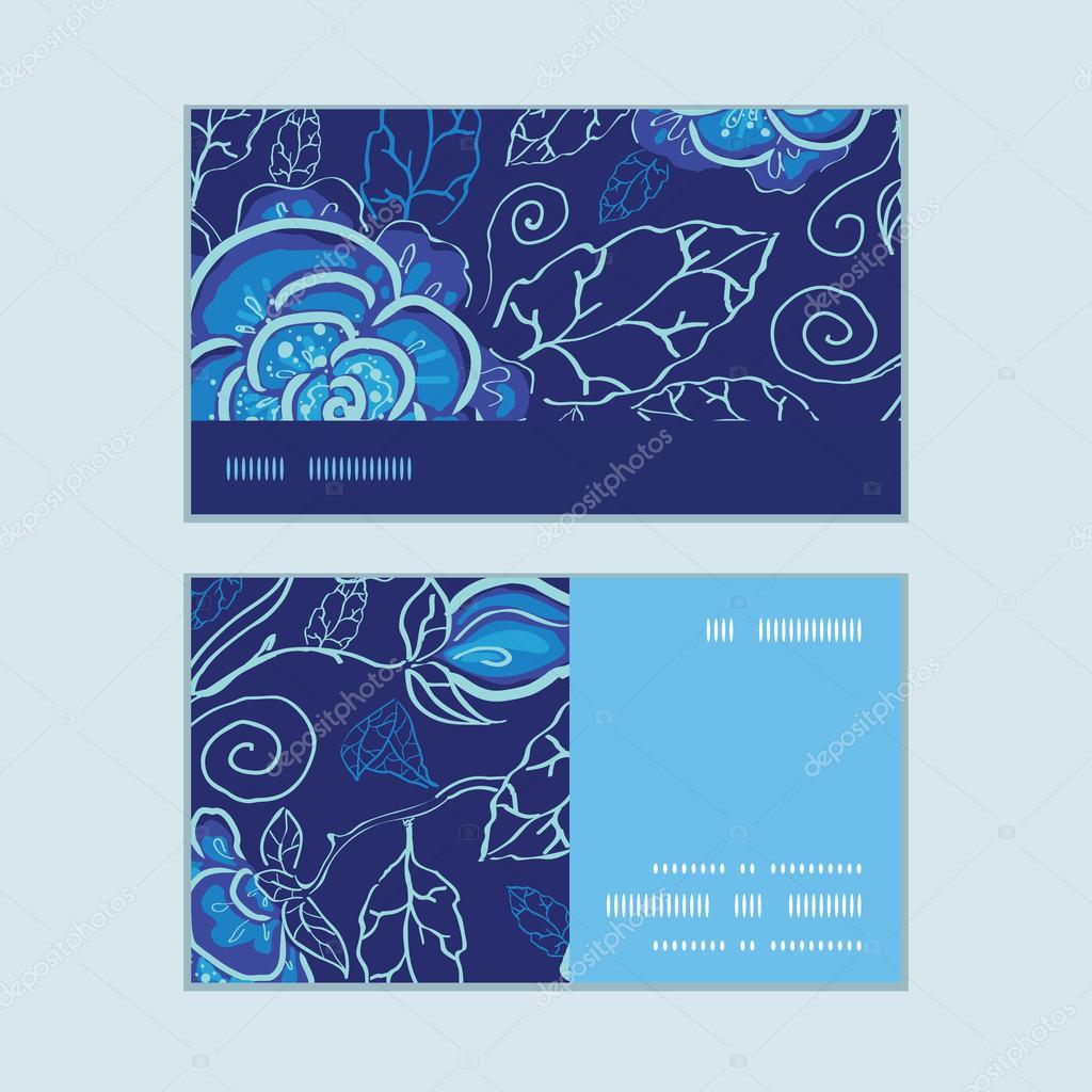 Cartes De Visite Vecteur Bleu Nuit Fleurs Bande Horizontale Cadre Modele Defini Image Vectorielle