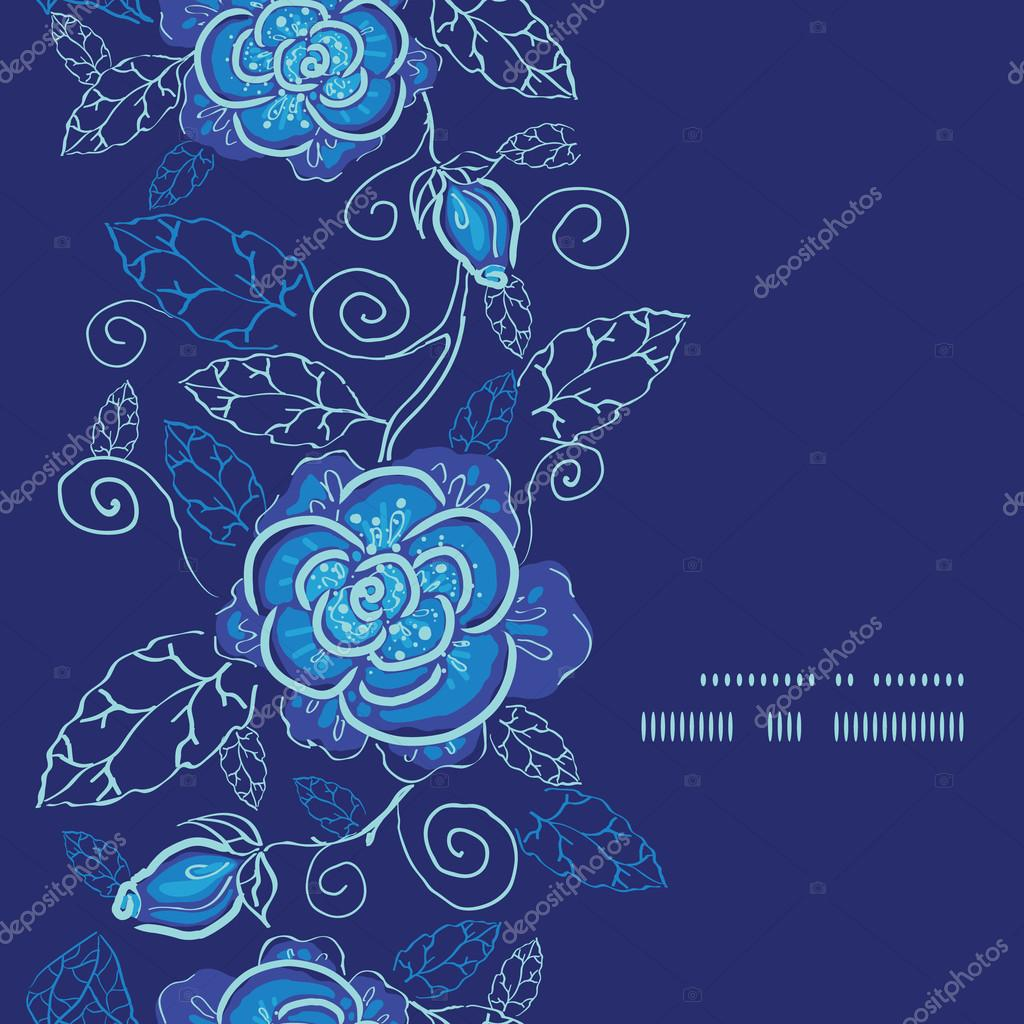 Vector blue night flowers vertical frame seamless pattern background