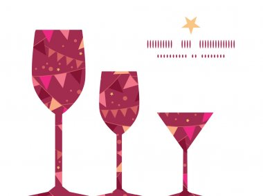 Vector christmas decorations flags three wine glasses silhouettes pattern frame