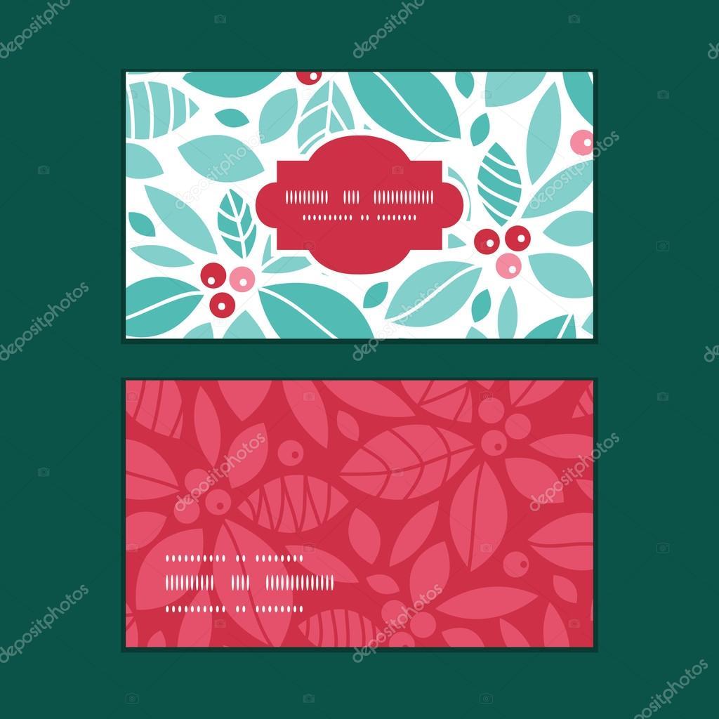 Set de vector Navidad acebo bayas marco horizontal modelo tarjetas ...