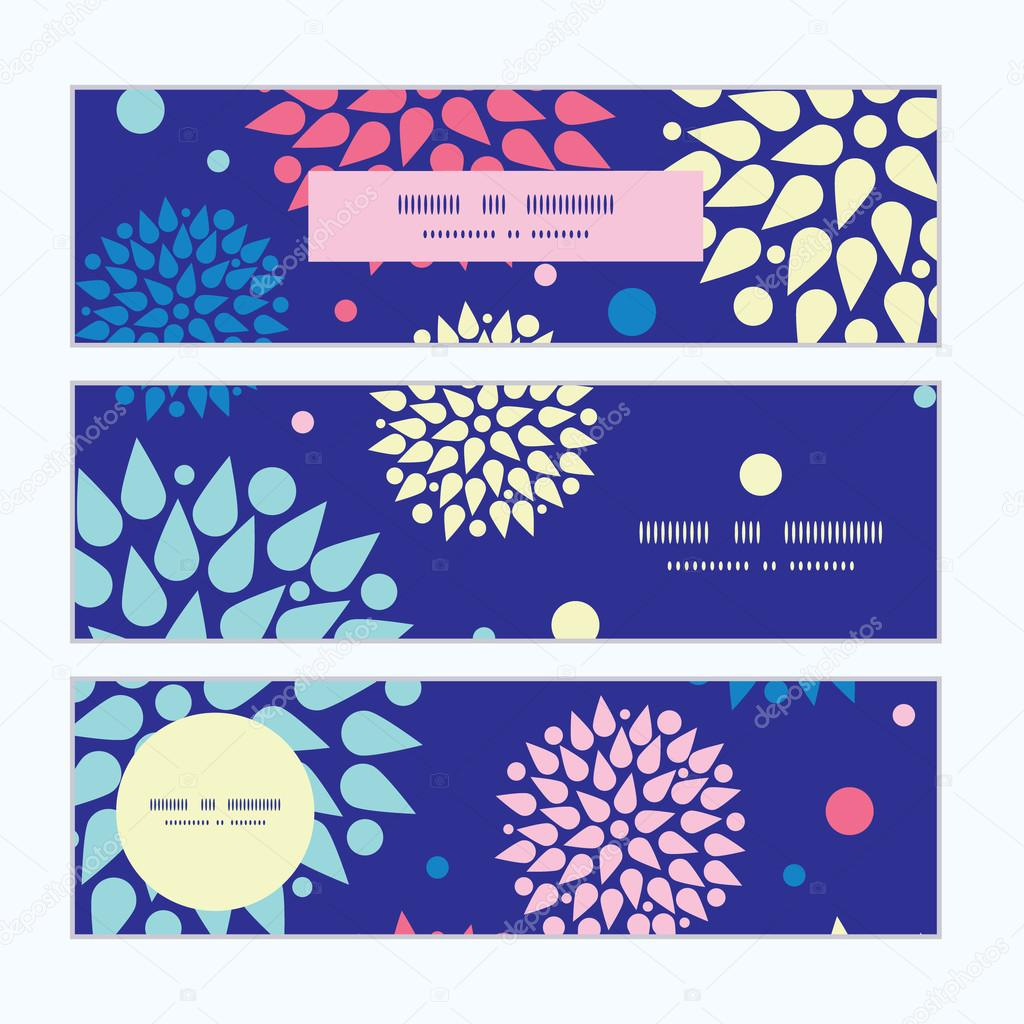 Vector colorful bursts horizontal banners set pattern background