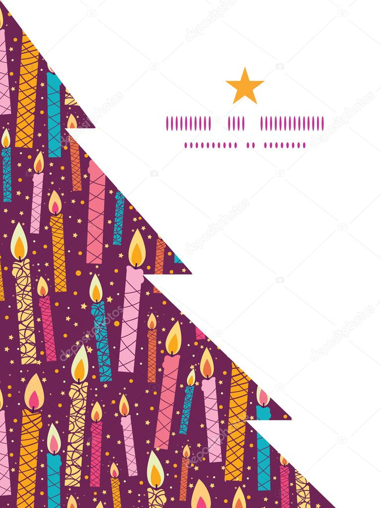 Vector Colorful Birthday Candles Christmas Tree Silhouette Pattern Frame Card Template Stock