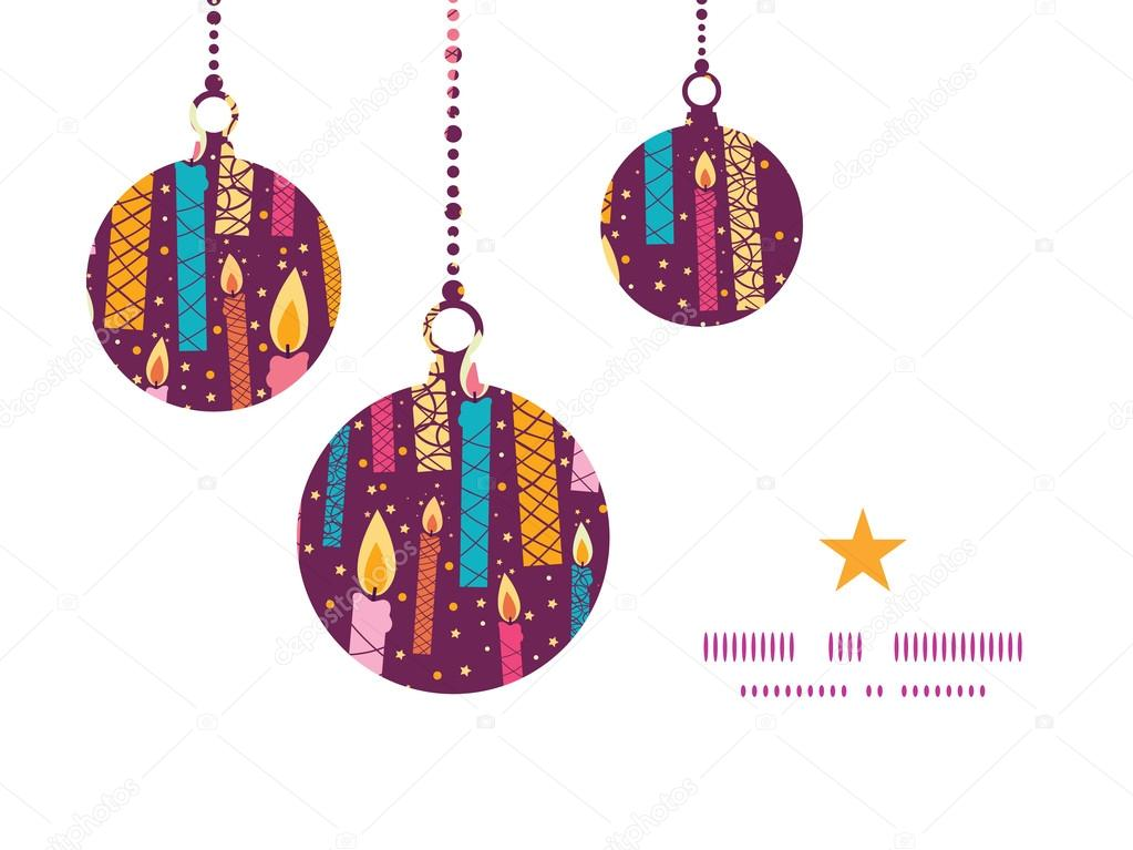 Vector Colorful Birthday Candles Christmas Ornaments Silhouettes Pattern Frame Card Template Stock