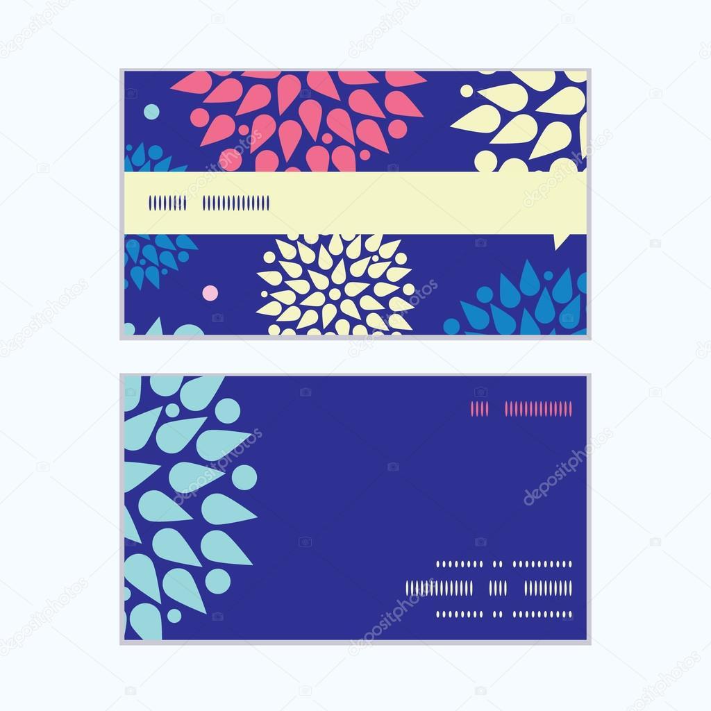 Vector colorful bursts horizontal stripe frame pattern business cards set