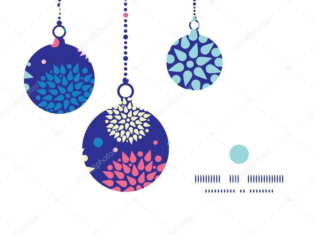 Vector colorful bursts Christmas ornaments silhouettes pattern frame card template
