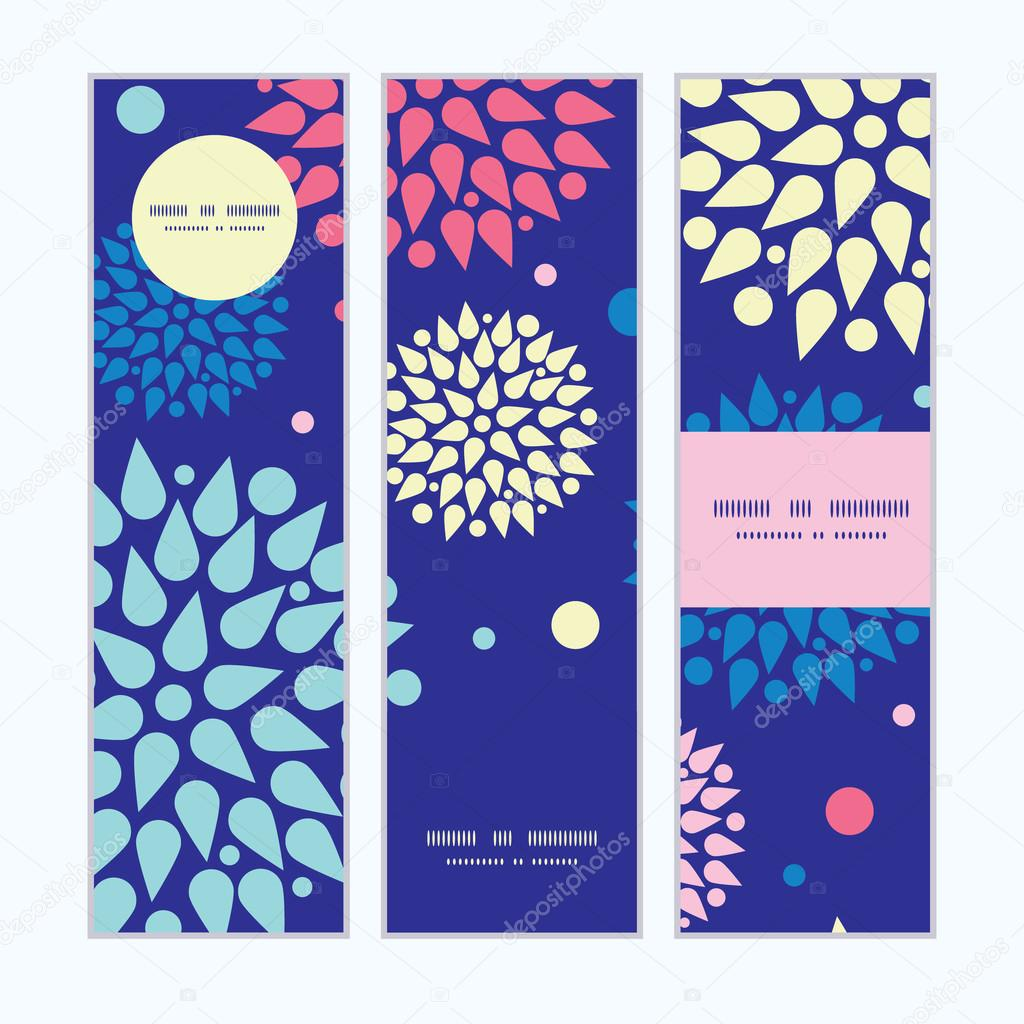 Vector colorful bursts vertical banners set pattern background