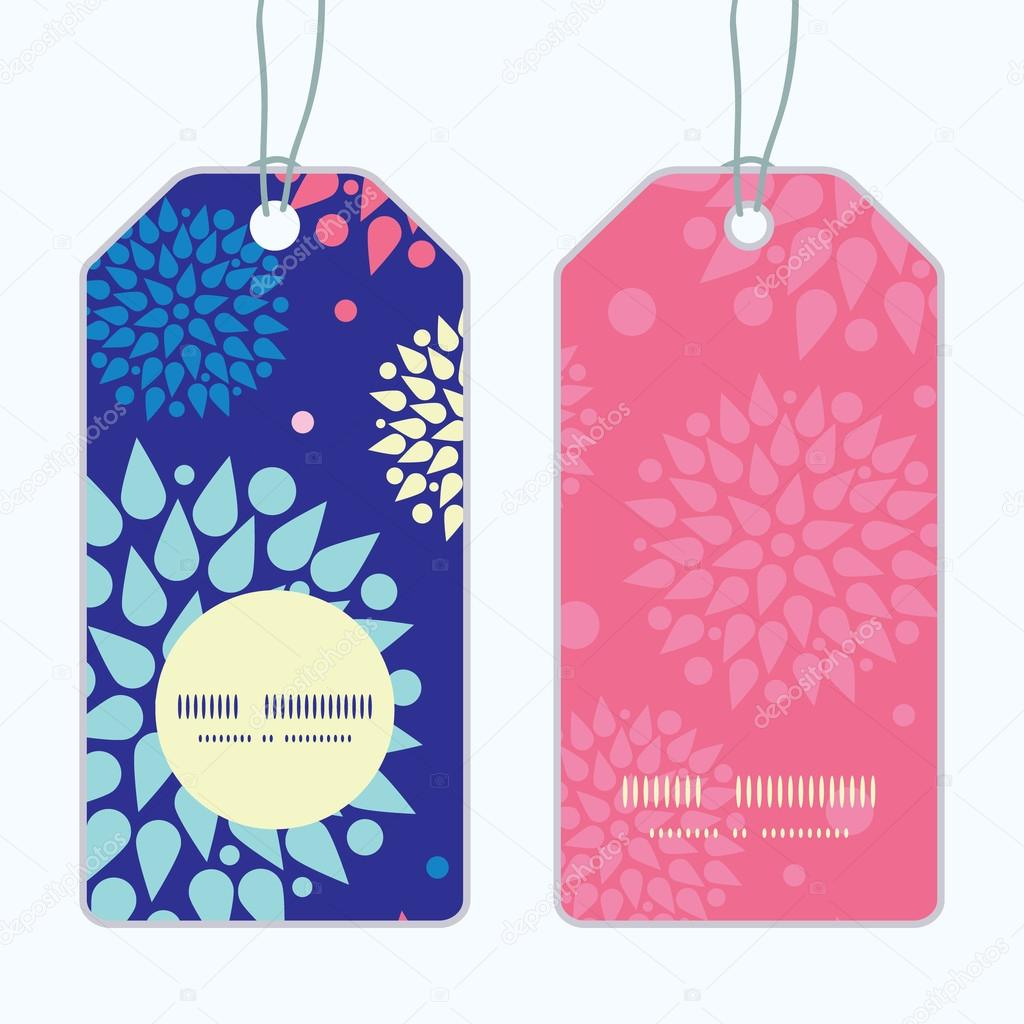 Vector colorful bursts vertical round frame pattern tags set