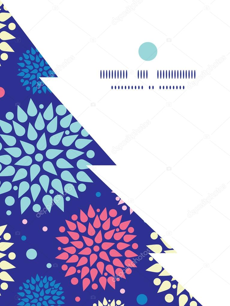 Vector colorful bursts Christmas tree silhouette pattern frame card template