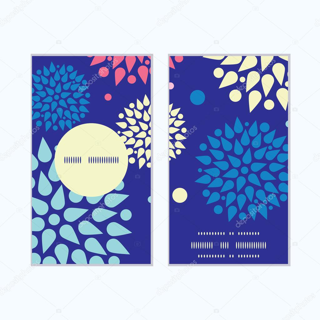 Vector colorful bursts vertical round frame pattern business cards set