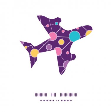 Vector molecular structure airplane silhouette pattern frame