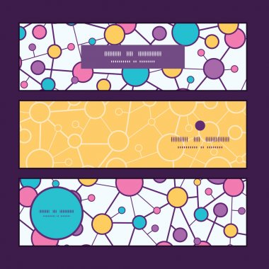 Vector molecular structure horizontal banners set pattern background