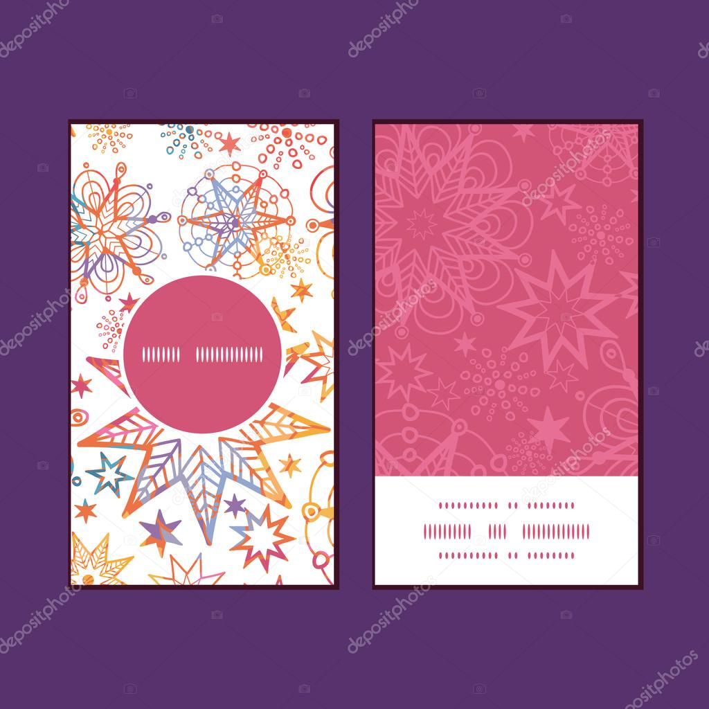 Vector textured christmas stars vertical round frame pattern business cards set